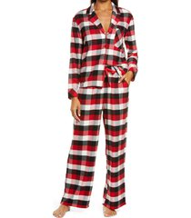 women's nordstrom flannel pajamas, size small - red