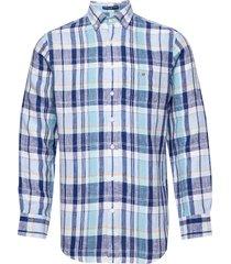 o2. linen madras reg bd overhemd casual blauw gant