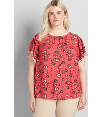 lane bryant women's embroidered flutter-sleeve top 18 pink floral