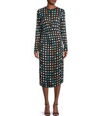 boss hugo boss women's esetta geometric-print ruched dress - size m
