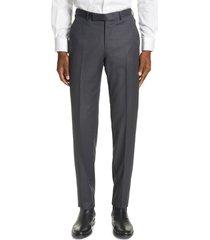 men's ermenegildo zegna micronsphere classic fit wool dress pants, size 54 eu - grey