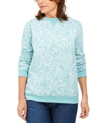 karen scott paisley fleece sweatshirt, created for macy's