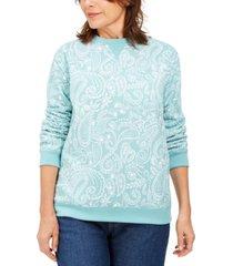 karen scott paisley fleece sweatshirt, created for macy's