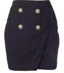 balmain short 4 btn wrap skirt
