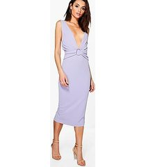 emi ruched front detail open back midi dress