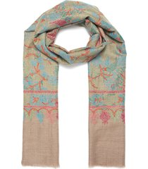 botanical embroidered pashmina scarf