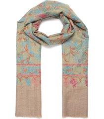 botanical embroidered pashmina scarf