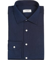 camicia da uomo su misura, canclini, denim blu scuro tinta unita, quattro stagioni | lanieri