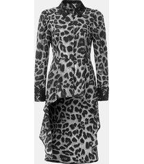 camicetta per le donne manica lunga patchwork di pizzo stampa leopardo