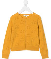 bonpoint cherry-embroidered buttoned cardigan - yellow