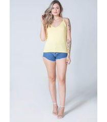 blusa regata dalia decote v tricot feminino amarelo