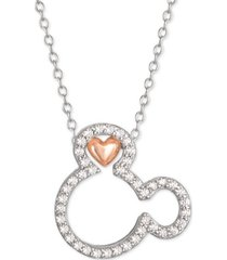 "disney cubic zirconia mickey mouse heart 18"" pendant necklace in sterling silver & 18k rose gold-plate"
