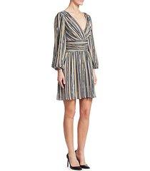 stripe long-sleeve a-line dress