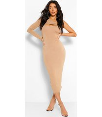 one shoulder cut out bodycon midaxi dress, camel
