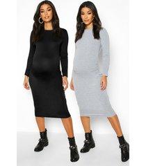 maternity 2 pk long sleeve basic bodycon dress, light grey