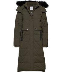 coats woven gevoerde lange jas groen edc by esprit
