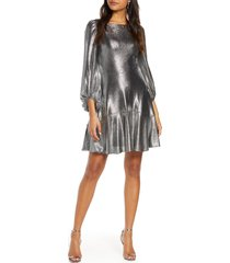 women's eliza j long sleeve metallic jersey cocktail dress