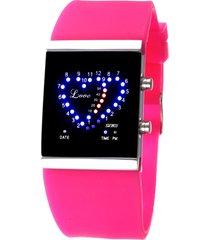 reloj en forma de corazón a prueba de agua-rojo