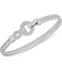 diamond horseshoe braided mesh bangle bracelet (1/4 ct. t.w.) in sterling silver