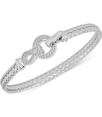 diamond horseshoe braided mesh bangle bracelet (1/4 ct. t.w.) in sterling silver