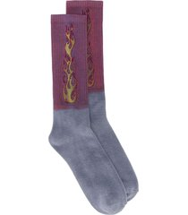 palm angels two tone flames socks - purple