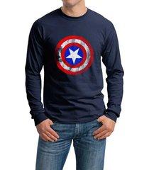 captain america shield long sleeve men tee color navy