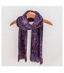 cotton blend scarf, 'orchid dreamer' (guatemala)