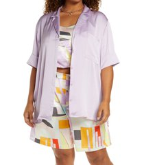 open edit satin camp button-up shirt, size 2x in purple bloom at nordstrom