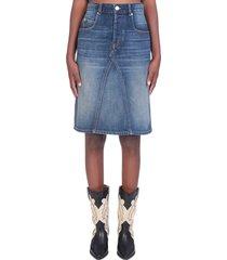 isabel marant étoile fiali skirt in blue denim