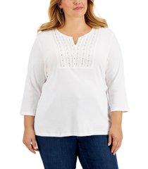 karen scott plus size cotton studded split-neck top, created for macy's