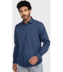 camisa casual spandex floreada azul marino arrow