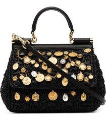 dolce & gabbana black sicily charm-embellished raffia shoulder bag