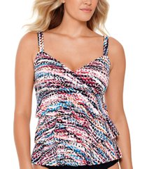 swim solutions hot rock printed tiered tankini, created for macy's women's swimsuit