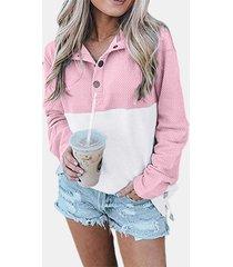 camicetta a maniche lunghe casual stampata patchwork per donna