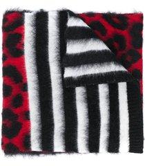 nº21 leopard stripe pattern oversize scarf - black