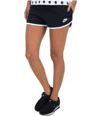 shorts nike sportswear heritage mesh - feminino - preto/branco