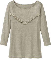 linnen-jersey shirt met ruches, bleekgroen 34