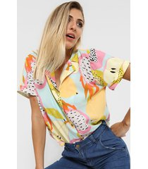 camisa celeste nano hawai frutal