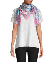 vince camuto women's watercolor floral-print scarf - black white