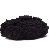 dolce & gabbana floral-detail beret - black