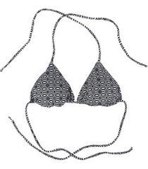 biquíni top cortininha com proteção solar uv live geométrico - adulto - preto/branco
