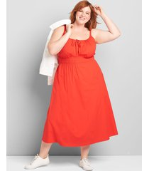 lane bryant women's shirred-waist midi dress 20 flame scarlet