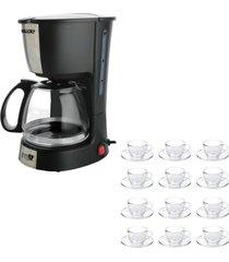 kit 1 cafeteira mallory filtro permanente 220v e 1 jogo de 12 xícaras 240ml com pires - tricae