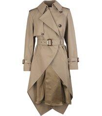 alexander mcqueen woman beige asymmetrical trench coat