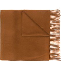 mackintosh bronze cashmere embroidered scarf acc-013/e - brown