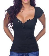 camisetas ajustadas con cuello en v y botones en la parte delantera en negro