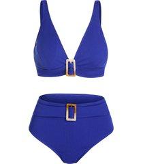 dual buckles ribbed padded tankini swimwear