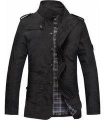 chaqueta hombre casual larga slim fit algodon 1045 negro