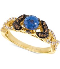 le vian cornflower ceylon sapphire (5/8 ct. t.w.) & diamond (1/3 ct. t.w.) ring in 14k gold