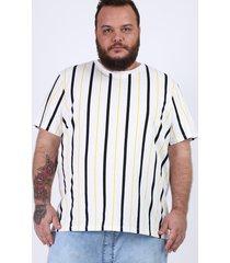 camiseta masculina plus size listrada manga curta gola careca branca
